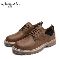 WHOHOLL Men Boots Leather Men Shoes 2017 Winter Casual Lace Up Ankle Boots Western Winter Fashion