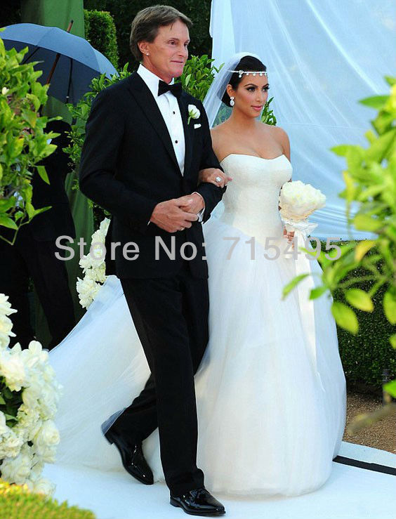 Custom made Kim Kardashian Wedding Dress Strapless Lace Tulle Ball ...