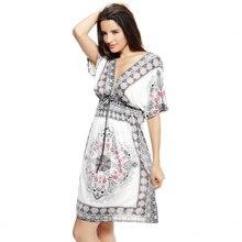 Retro Bohemian Floral Print V-Neck Short Sleeve Beach Dress