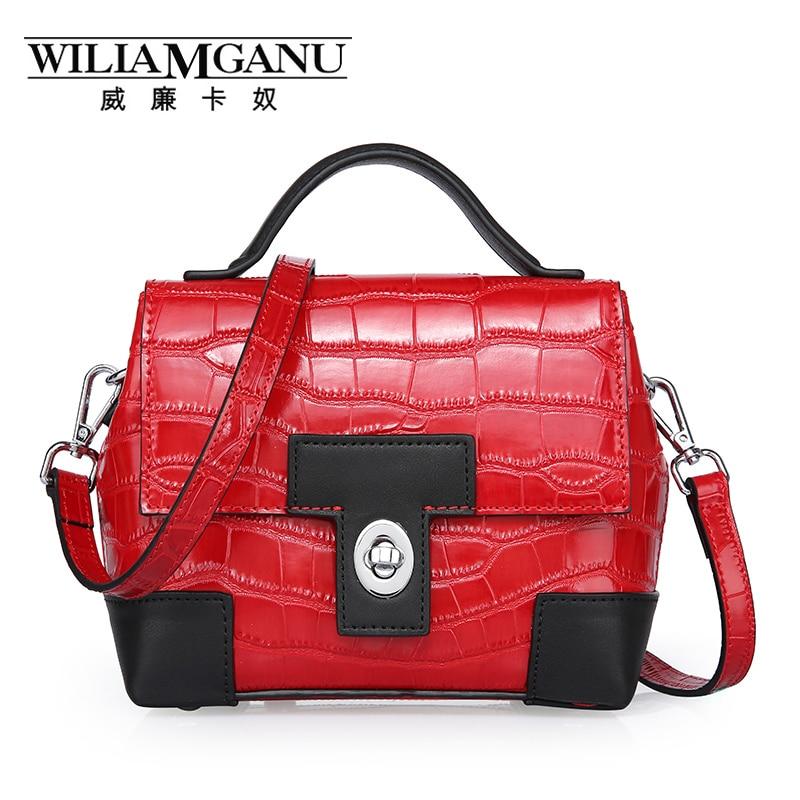 ФОТО WIGIAMGANU new Women handbags Genuine Leather Messenger bag Crocodile pattern trend fashion handbag  female small square bag