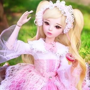 60cm doce lolita vestido menina boneca com cabelo longo bonito artesanal bjd 1/3 bonecas conjunto completo meninas brinquedos para crianças presente de aniversário