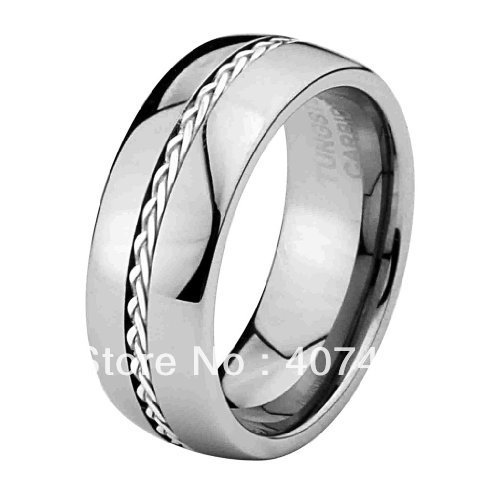 Free Shipping Cheap Price USA Brazil Hot Sales Comfort Fit Mens Tungsten Ring 8MM Dome Silver Inalyed Band Ring US sizes 8-14Free Shipping Cheap Price USA Brazil Hot Sales Comfort Fit Mens Tungsten Ring 8MM Dome Silver Inalyed Band Ring US sizes 8-14