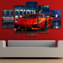 Modular Poster Wall Art Canvas 5 Pieces Red Luxury Sports Car HD Printed Pictures  Painting Modern Living Room Home Decor Framed