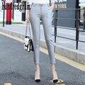 Nove centavos terno calça casual primavera e no outono de forma Magro calças de cintura alta ol career-dod381