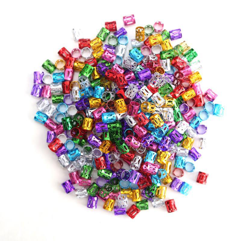 Mixed Color Dreadlock Beads for Hair Adjustable No Rust Aluminum Metal Cuffs Beads 0.8mm 100pcs Braiding Hair Decoration Jewelry