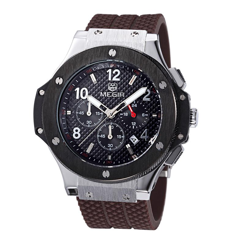 Megir Casual Mens Watches Top Brand Luxury Chronograph Army Wrist Sport Quartz Watch Silicone Black Quartz