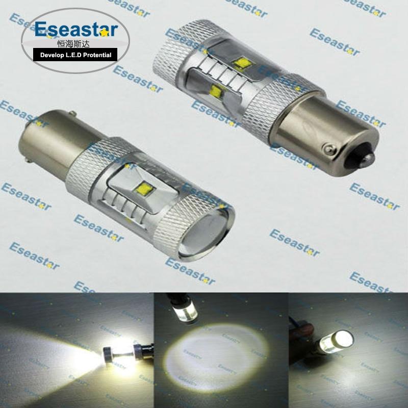 Eseastar 2Pcs PY21W Led Bulb BAU15S Leds 21 C.R.E.E Auto Light Bulbs Reverse Lamp White Yellow Red R5W 12V Car Turn Signal Light
