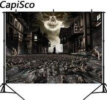 Fotografia fundo horrível Capisco grim Reaper ruínas Casas Densa mouse Halloween tema cenário foto fundo do estúdio