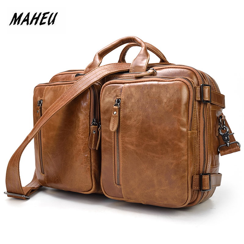 MAHEU New Fashion Handbags Shoulder Bag Bagpacks In One Bag Genuine Leather Multifunctional Briefcase Double Zipper Business Bag-in Briefcases from Luggage & Bags    1