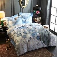 Papa Mima Egyptian Cotton Bedlinens Queen King Size Bedding Set Leaves Print Flat Sheet Light Blue