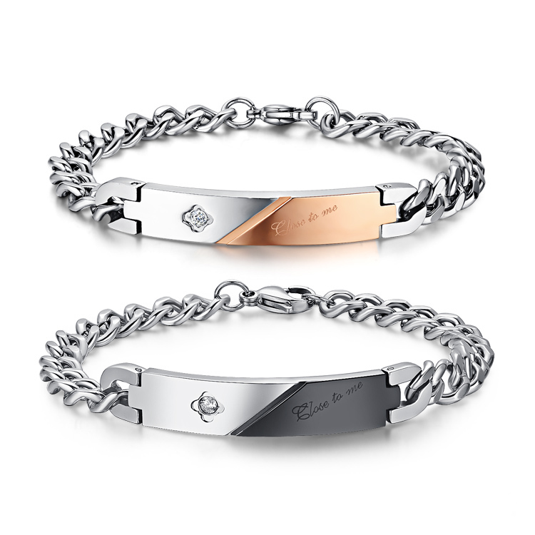 316L Stainless Steel couple Bracelets For Men And Women Wholesale Loves Rose Gold&Black Bracelet With Shiny CZ Stone one pcs