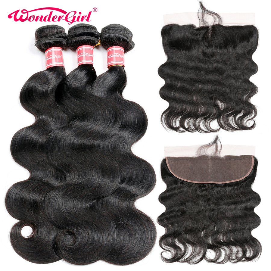 Malaysian Body Wave 3 Bundles With Frontal 13x4 Ear To Ear Lace Frontal Closure With Bundles Remy Human Hair Bundles Wonder girl