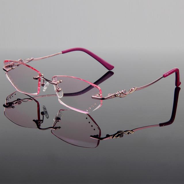 Luxo artística titanium liga frame ótico mulheres modelo de corte corte de diamante sem aro óculos com lentes gradiente matiz