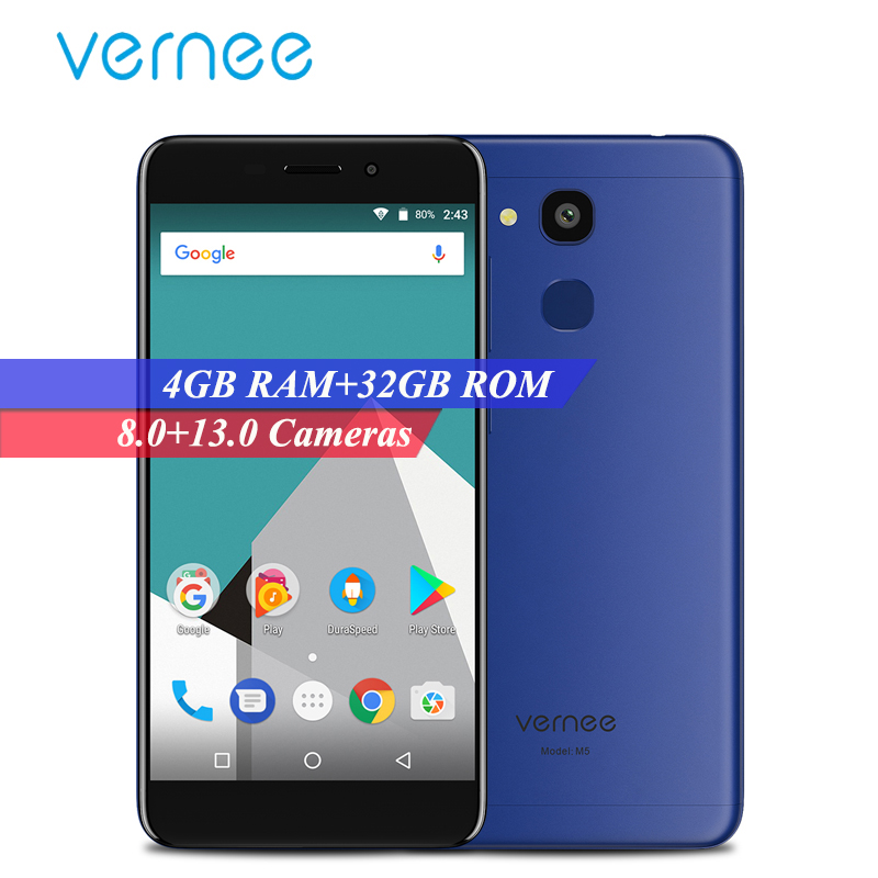 Vernee M5 4G LTE Mobile Phone Android 7.0 5.2 Inch 4GB RAM 32GB ROM MTK6750 Octa Core 8MP+13MP Fingerprint Dual Sim Smartphone