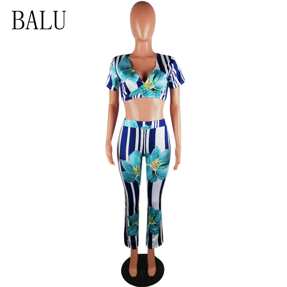 BALU Striped Floral Print Jumpsuits Summer Sexy V Neck Short Sleeve Casual Jumpsuit Wide Leg Pants Overalls Women Two Pieces Set