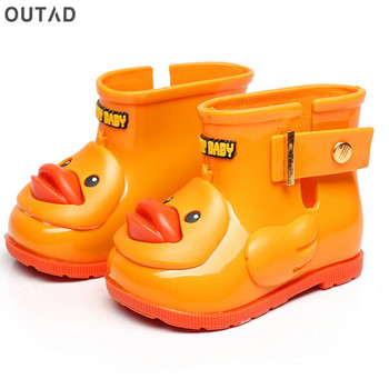 Waterproof Children Rain Boots Anti-slip Children's Water Shoes with Duck Pattern Unisex for Boys &