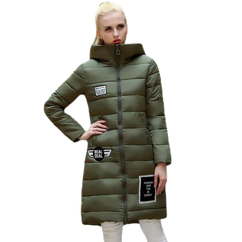 New Winter Padded Jacket Women 2017 Fashion Patch Hooded Cotton Coat Thick Warm Women Long Slim Parkas Plus Size PW0651 winter jacket women 2017 new parkas fashion slim long cotton padded coat warm hooded female thick jacket plus size outerwear