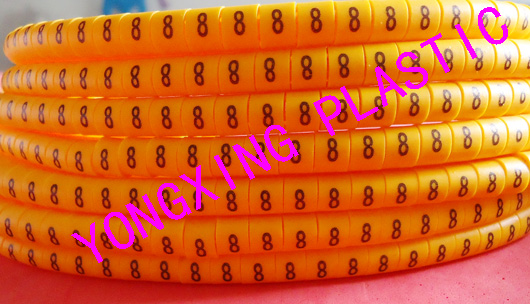 100pcs/lot freeshipping  EC-0 0.5mm2 cable marker 8 9 different number yellow color