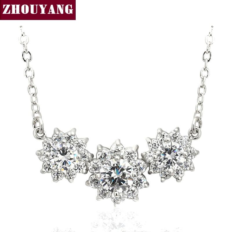 ZHOUYANG ZYN398 Sun flor CZ Color plata colgante collar de moda joyería  hecha con cristal de Austria al por mayor b29c3a028819