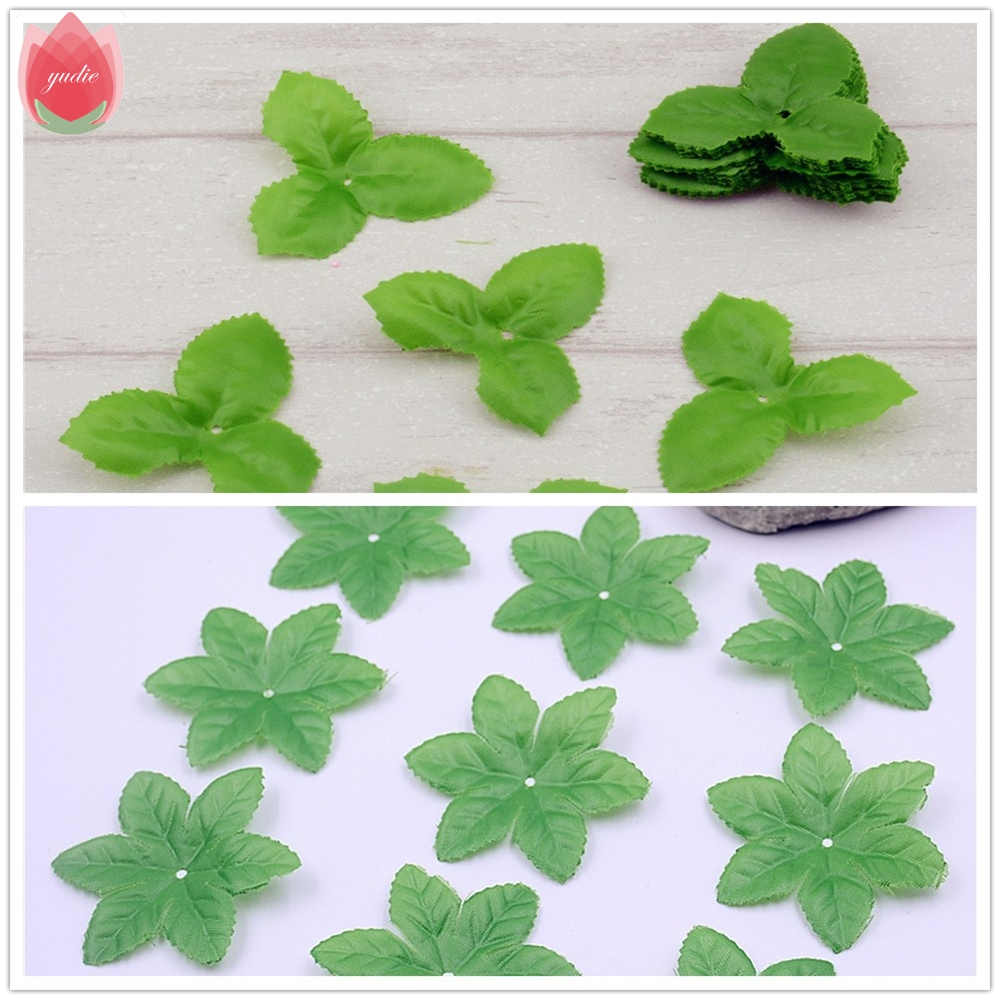 2017 150pcs green artificial flowers leaves torus for for Decorative flowers for crafts