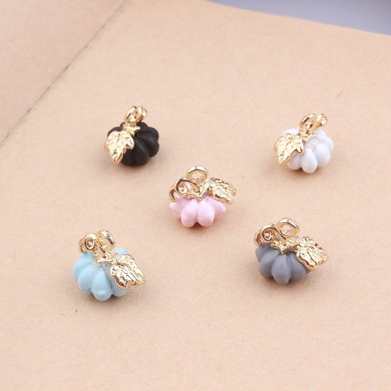 10PCS/Lot Rubber Enamel Pumpkin Pendant Charms DIY Jewelry Findings Bracelet Necklace Oil Drop Charm