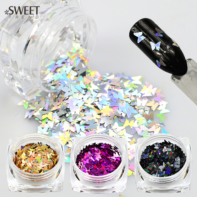 SWEET TREND 1Bottle 3D Nail Art Glitter Colorful Laser Butterfly Sequins Slice Tips Nail Decoration DIY Manicure Tools LAHD01-05