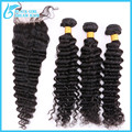 7A Brazilian Deep Wave With Closure Bleached Knots 3 Bundles Unprocessed Brazilian Deep Curly Virgin Hair With Closure Baby Hair