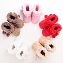 Зимние теплые ботинки для новорожденных, для маленьких мальчиков для девочек на мягкой подошве обувь для младенцев Нескользящие на возраст от 0 до 18 месяцев