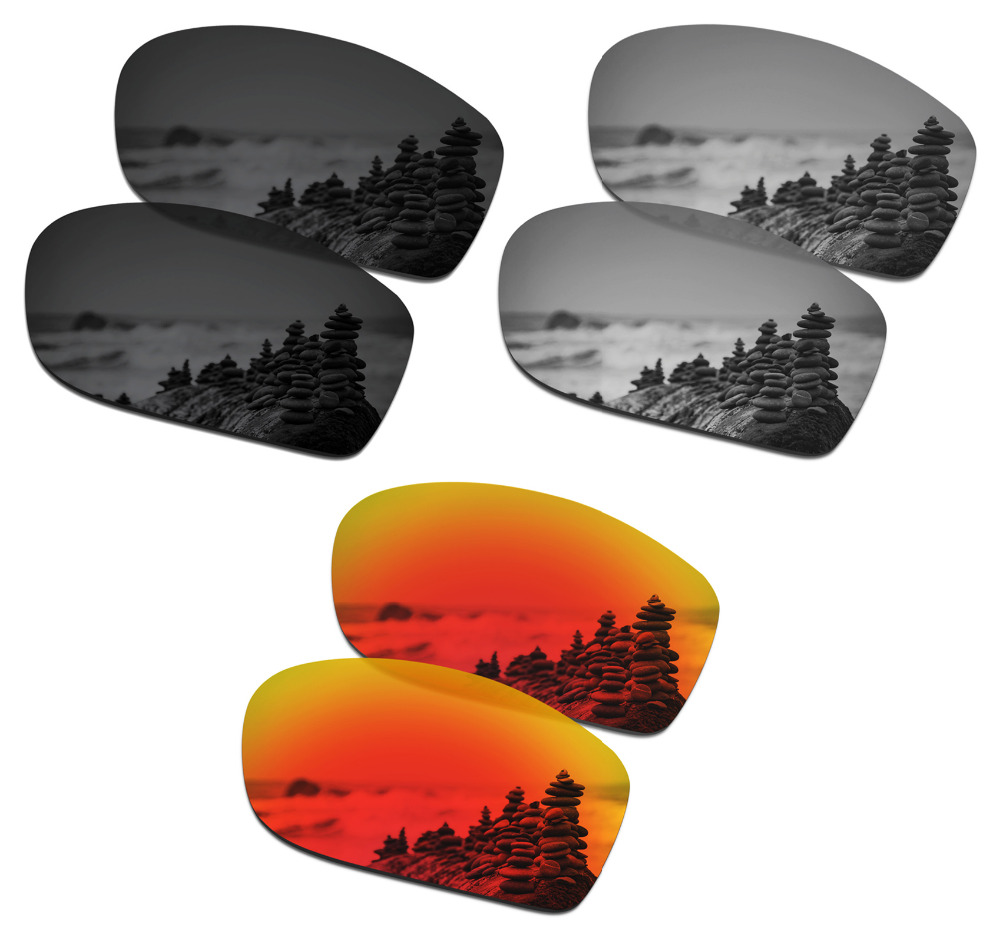 SmartVLT 3 Pairs Polarized Sunglasses Replacement Lenses for Oakley Valve New 2014 Black and Silver Titanium and Fire Red