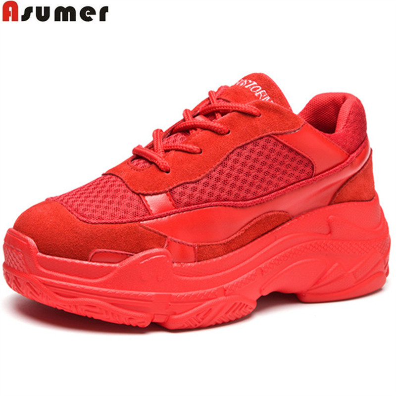 Asumer red black fashion lace up flat shoes woman round toe casual sneakers Four seasons shoes fashion women suede leather flats glowing sneakers usb charging shoes lights up colorful led kids luminous sneakers glowing sneakers black led shoes for boys
