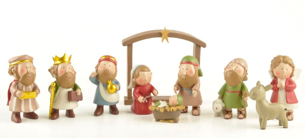 ENNAS Set of 10 Christmas Holiday Nativity Scene Includes Stable Mary and Wisemen Jesus Joseph