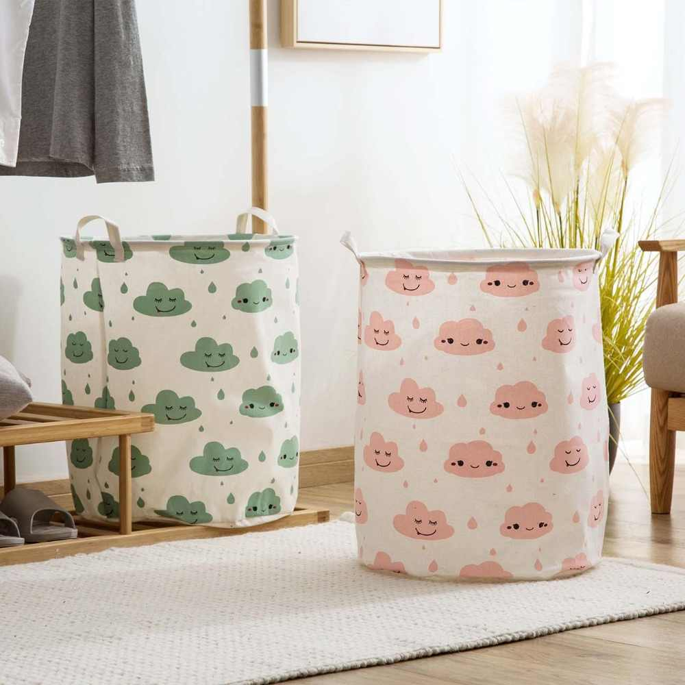 Large Linen Laundry Hamper Bag Kids Toys Gifts Organizer Box Folding Dirty Clothing Storage Basket Cloud Printed Laundry Basket