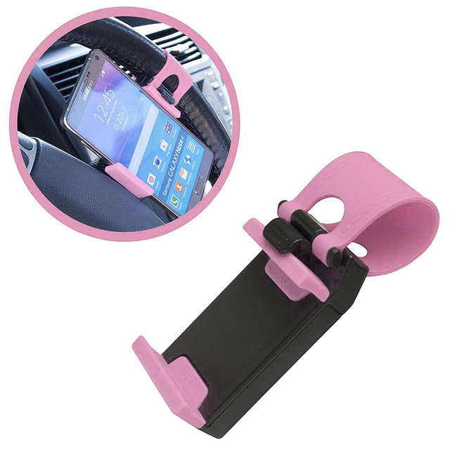 IKSNAIL Universal Car Phone Holder Auto Steering Wheel Mount Buckle Socket Holder for iphone Car Bike Handlebar Clip GPS Stands