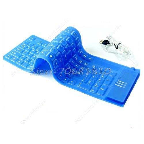 109 ключей USB силиконовой резины Водонепроницаемый гибкая складная клавиатура для ПК синий Z09 Прямая поставка