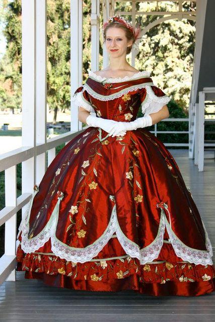 Bürgerkrieg Samt Jacquard Muster Zeitraum Kleid Kleid Reenactment ...