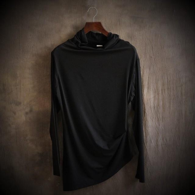 Simples cor pura nova asymmetric inclinado hem vezes cultivar a moralidade dos homens T-shirt de manga comprida tornar sem forro superior garme