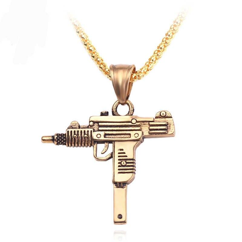 قلادة للرجال من Uzi Gun موديل 2019 على طراز موسيقى الراب ومجوهرات الهيب هوب وهي قلادة للرجال مصنوعة من الذهب على الطراز القوطي