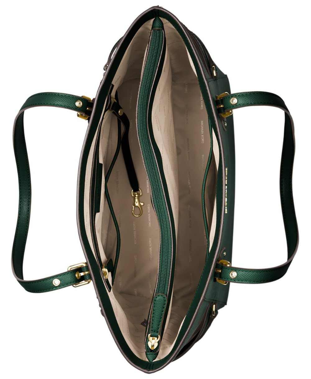 1549c884cd26ea ... Michael Kors Voyager East West Crossgrain Leather Tote (Racing  Green/Gold) by MK ...