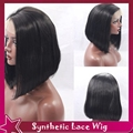 Fast Shipping Synthetic Lace Front Wig Short Bob Natural Wig Silky Straight Hair Side Part Style Glueless No Lace For American