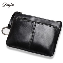 01c98e4299cd DANJUE Genuine Leather Short Coin Purse Small Vintage Small Change Wallets  Women men Brand Rfid Blocking Designer Coin Hand Bags