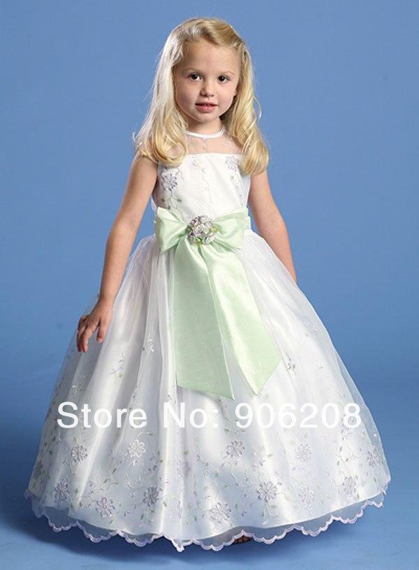 Beautiful Satin Lace Bow sleeveless   Flower     Girl     Dresses   2015