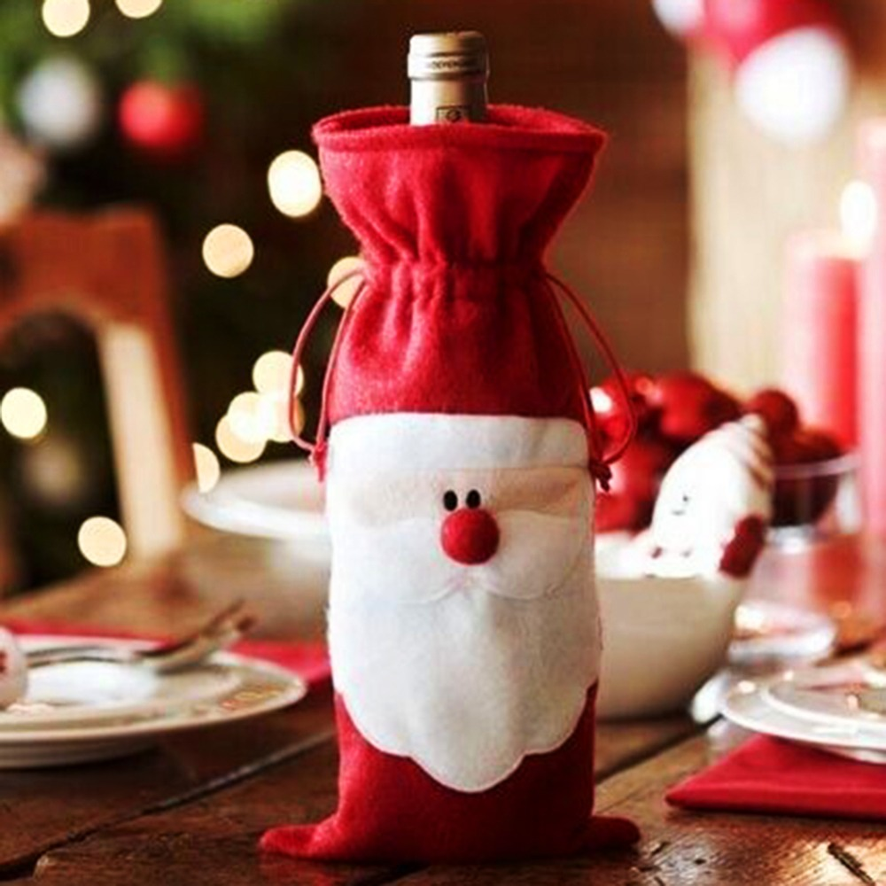Wine bottle ornaments - 1pc Red Wine Bottle Cover Bags Xmas Santa Claus Christmas Table Dinner Decoration Home New Year