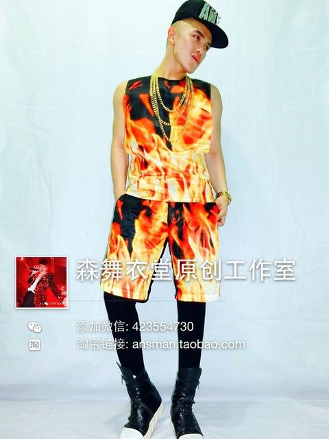 Masculino colete calças camisa fogo impressão dançarino cantor show de boate desempenho ao ar livre fino