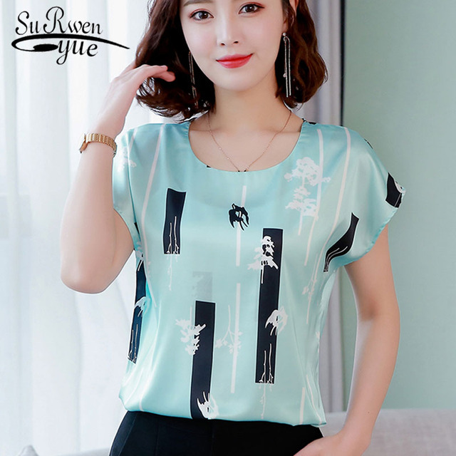 67250058c1a393 2019 summer Women chiffon shirt and tops fashion plus size O-neck printing  pattern Leisure Lady shirts Loose office lady 3741 50
