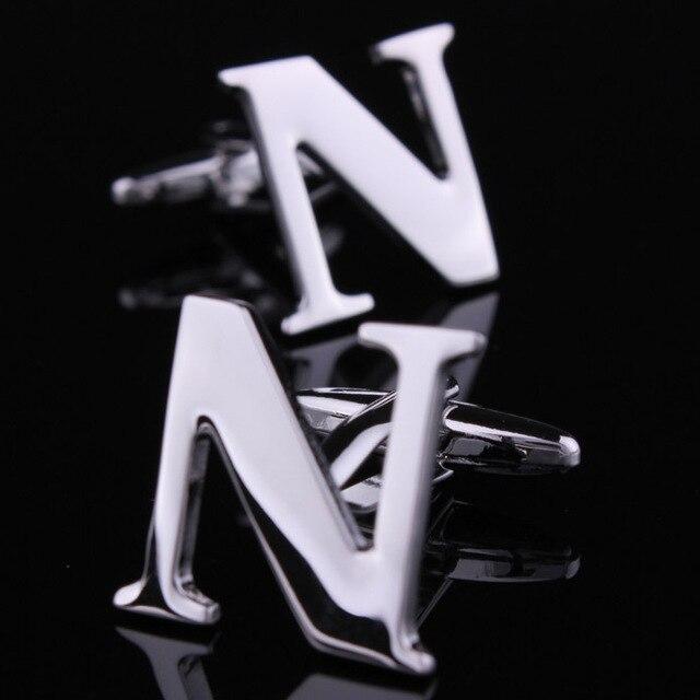 Plain Metal Letter N Design Silver Color Cufflinks Mens Wedding Groom Shirt Sleeve Cuff Links New