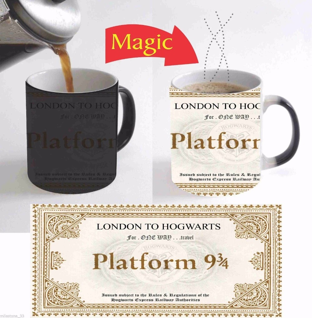 Hogwarts Train Ticket mugs coffee mugen tea mugs heat sensitive heat reactive Magic mugen ceramic travel mug home decal