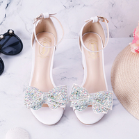 Junior high school students thick heel open toe white female sandals A word buckle wristband rhinestone butterfly Bow Shoes