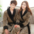 Autumn and Winter Lovers Robe Bathrobes Thickening Coral Fleece Flannel Ultra Long Sleepwear Sexy Leopard Print Bathrobe