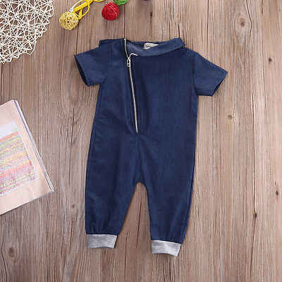 bd4f95db326 ... Newborn Infant Baby Girls Boy Jumpsuit Romper Outfits Clothes Boys  jeans Clothes Denim Short Sleeve Solid ...
