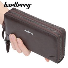Baellerry Luxury Brand Men Wallets Long Clutch Purse Large Capacity Zippers Wallet Male PU Leather Business